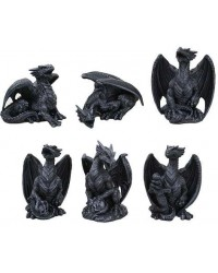 Mini Dragon Statue Set of 6 Mystic Convergence Metaphysical Supplies Metaphysical Supplies, Pagan Jewelry, Witchcraft Supply, New Age Spiritual Store