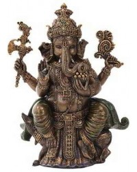 Seated Ganesha Hindu God Bronze 8 Inch Statue Mystic Convergence Metaphysical Supplies Metaphysical Supplies, Pagan Jewelry, Witchcraft Supply, New Age Spiritual Store