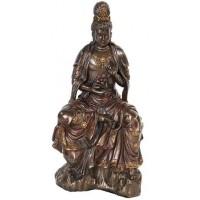 Water and Moon Kuan Yin Bronze Resin Statue