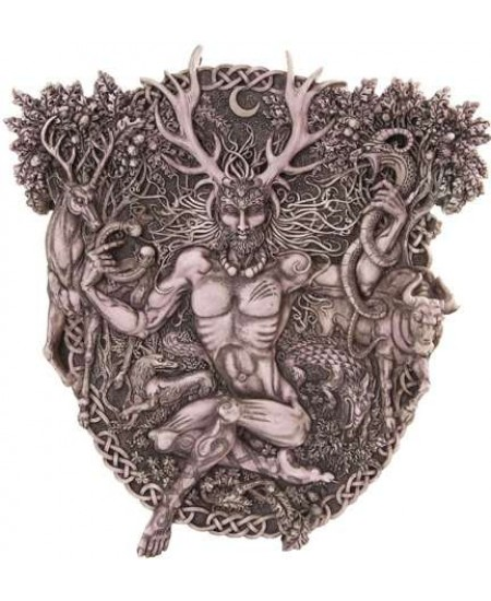 Cernunnos Horned God Celtic Wall Plaque Stone Finish at Mystic Convergence Metaphysical Supplies, Metaphysical Supplies, Pagan Jewelry, Witchcraft Supply, New Age Spiritual Store