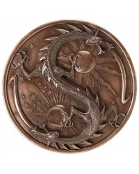 Double Dragon Alchemy Bronze Resin Plaque