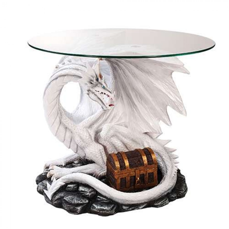 Dragon treasure glass topped sculptural table with round glass 19 inches high - Guarding dragon accent table ...