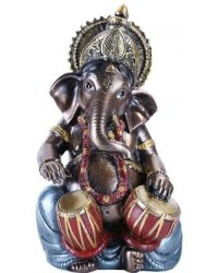 Ganesha with Drums Small Bronze Resin Statue Mystic Convergence Metaphysical Supplies Metaphysical Supplies, Pagan Jewelry, Witchcraft Supply, New Age Spiritual Store