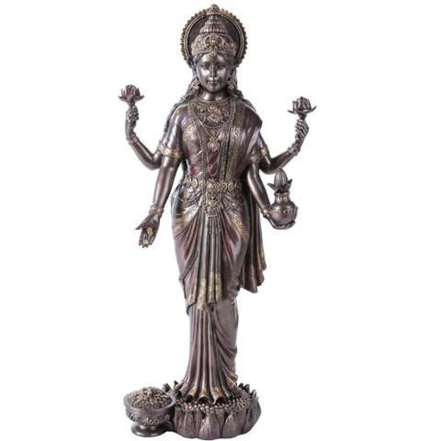 Lakshmi Hindu Goddess of Luck and Wealth Bronze Resin Statue