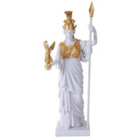 Athena, Greek Goddess of War White and Gold Statue