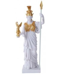 Athena, Greek Goddess of War White and Gold Statue Mystic Convergence Metaphysical Supplies Metaphysical Supplies, Pagan Jewelry, Witchcraft Supply, New Age Spiritual Store