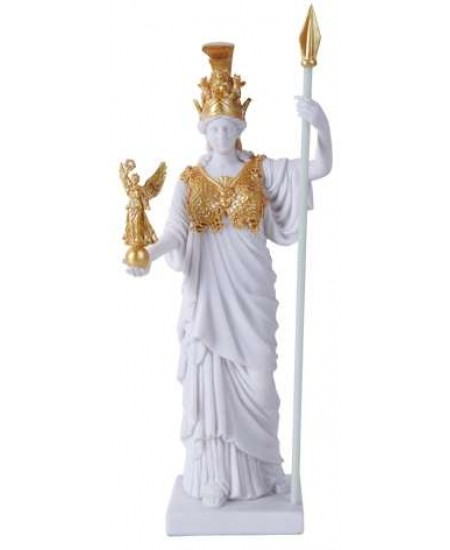 Athena, Greek Goddess of War White and Gold Statue at Mystic Convergence Metaphysical Supplies, Metaphysical Supplies, Pagan Jewelry, Witchcraft Supply, New Age Spiritual Store