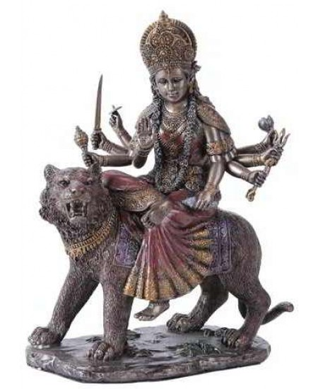 Durga, Hindu Goddess of Justice Bronze Resin Statue at Mystic Convergence Metaphysical Supplies, Metaphysical Supplies, Pagan Jewelry, Witchcraft Supply, New Age Spiritual Store