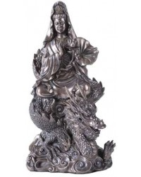 Kuan Yin on Dragon Bronze Resin 11 Inch Statue Mystic Convergence Metaphysical Supplies Metaphysical Supplies, Pagan Jewelry, Witchcraft Supply, New Age Spiritual Store