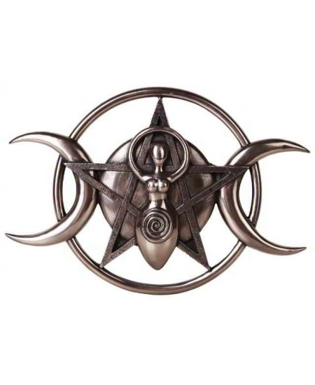 Spiral Goddess Triple Moon Bronze Plaque at Mystic Convergence Metaphysical Supplies, Metaphysical Supplies, Pagan Jewelry, Witchcraft Supply, New Age Spiritual Store
