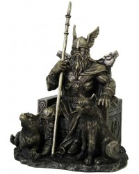 Odin the All-Father Norse God with Wolves Statue Mystic Convergence Metaphysical Supplies Metaphysical Supplies, Pagan Jewelry, Witchcraft Supply, New Age Spiritual Store