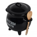 Witches Broth Cauldron Bowl with Broom Spoon
