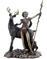 Diana Artemis Greek Goddess of the Hunt Statue with Deer Mystic Convergence Metaphysical Supplies Metaphysical Supplies, Pagan Jewelry, Witchcraft Supply, New Age Spiritual Store
