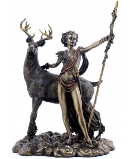 Diana Artemis Greek Goddess of the Hunt Statue with Deer at Mystic Convergence Metaphysical Supplies, Metaphysical Supplies, Pagan Jewelry, Witchcraft Supply, New Age Spiritual Store