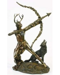 Diana Artemis Greek Goddess of the Hunt Statue with Wolf Mystic Convergence Metaphysical Supplies Metaphysical Supplies, Pagan Jewelry, Witchcraft Supply, New Age Spiritual Store