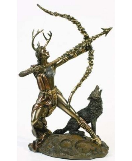 Diana Artemis Greek Goddess of the Hunt Statue with Wolf at Mystic Convergence Metaphysical Supplies, Metaphysical Supplies, Pagan Jewelry, Witchcraft Supply, New Age Spiritual Store