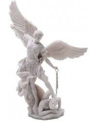 Archangel St Michael Slaying Evil 13 Inch White Statue Mystic Convergence Metaphysical Supplies Metaphysical Supplies, Pagan Jewelry, Witchcraft Supply, New Age Spiritual Store