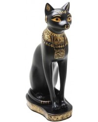 Bastet Black Cat with Gold Necklace Egyptian Statue Mystic Convergence Metaphysical Supplies Metaphysical Supplies, Pagan Jewelry, Witchcraft Supply, New Age Spiritual Store