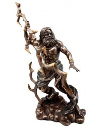 Zeus Greek King of Gods with Thunderbolt Bronze Statue Mystic Convergence Metaphysical Supplies Metaphysical Supplies, Pagan Jewelry, Witchcraft Supply, New Age Spiritual Store