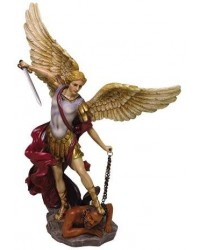 Archangel St Michael Hand Painted Color Christian Statue