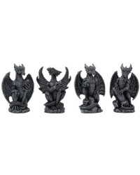 Mini Dragon Statue Set of 4 Mystic Convergence Metaphysical Supplies Metaphysical Supplies, Pagan Jewelry, Witchcraft Supply, New Age Spiritual Store