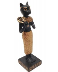 Bastet with Sistrum Mini Egyptian Statue Black and Gold Mystic Convergence Metaphysical Supplies Metaphysical Supplies, Pagan Jewelry, Witchcraft Supply, New Age Spiritual Store