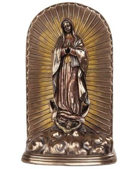 Our Lady of Guadalupe Bronze Memorial Urn at Mystic Convergence Metaphysical Supplies, Metaphysical Supplies, Pagan Jewelry, Witchcraft Supply, New Age Spiritual Store