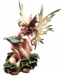 Forest Fairy with Baby Dragon Statue
