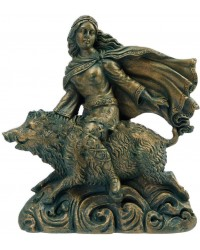 Freya Norse Goddess on Boar Statue Mystic Convergence Metaphysical Supplies Metaphysical Supplies, Pagan Jewelry, Witchcraft Supply, New Age Spiritual Store