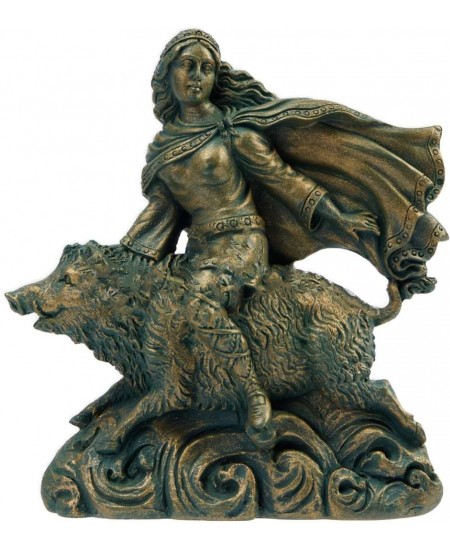 Freya Norse Goddess on Boar Statue at Mystic Convergence Metaphysical Supplies, Metaphysical Supplies, Pagan Jewelry, Witchcraft Supply, New Age Spiritual Store