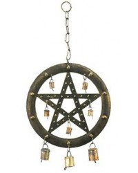 Pentacle Wind Chime with Bells Mystic Convergence Metaphysical Supplies Metaphysical Supplies, Pagan Jewelry, Witchcraft Supply, New Age Spiritual Store