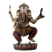 Dancing Ganesha on Lotus Bronze Resin Statue