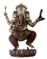 Dancing Ganesha on Lotus Bronze Resin Statue Mystic Convergence Metaphysical Supplies Metaphysical Supplies, Pagan Jewelry, Witchcraft Supply, New Age Spiritual Store