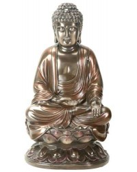 Buddha on Lotus Bronze Resin Statue Mystic Convergence Metaphysical Supplies Metaphysical Supplies, Pagan Jewelry, Witchcraft Supply, New Age Spiritual Store