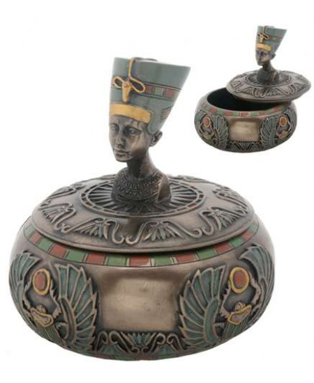 Nefertiti Egyptian Round Trinket Box at Mystic Convergence Metaphysical Supplies, Metaphysical Supplies, Pagan Jewelry, Witchcraft Supply, New Age Spiritual Store
