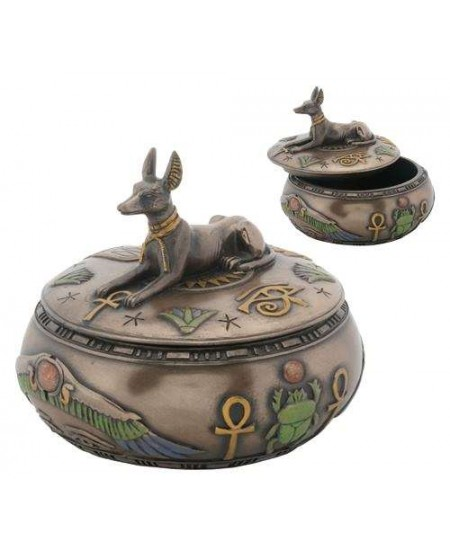 Anubis Egyptian Jackal Round Trinket Box at Mystic Convergence Metaphysical Supplies, Metaphysical Supplies, Pagan Jewelry, Witchcraft Supply, New Age Spiritual Store