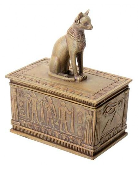 Bastet Sandstone Color Resin 5 Inch Box at Mystic Convergence Metaphysical Supplies, Metaphysical Supplies, Pagan Jewelry, Witchcraft Supply, New Age Spiritual Store