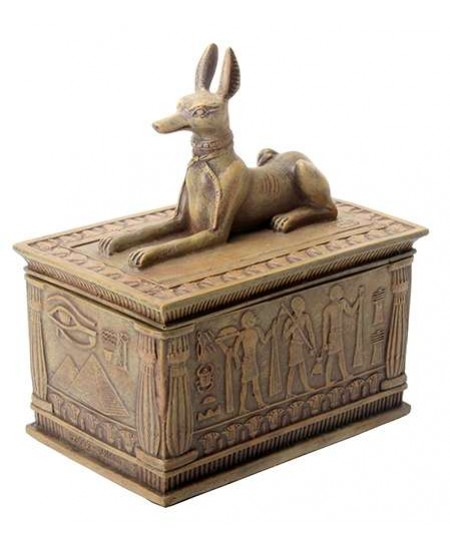 Anubis Sandstone Color Resin 5 Inch Box at Mystic Convergence Metaphysical Supplies, Metaphysical Supplies, Pagan Jewelry, Witchcraft Supply, New Age Spiritual Store