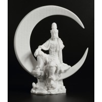 Quan Yin Water and Crescent Moon Statue
