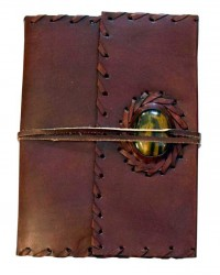 Leather Gemstone Blank Book With Cord - 7 Inches Mystic Convergence Metaphysical Supplies Metaphysical Supplies, Pagan Jewelry, Witchcraft Supply, New Age Spiritual Store