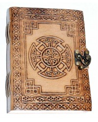 Celtic Cross Leather Blank 7 Inch Journal with Latch Mystic Convergence Metaphysical Supplies Metaphysical Supplies, Pagan Jewelry, Witchcraft Supply, New Age Spiritual Store