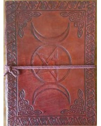 Triple Moon Pentacle Leather 7 Inch Journal Mystic Convergence Metaphysical Supplies Metaphysical Supplies, Pagan Jewelry, Witchcraft Supply, New Age Spiritual Store