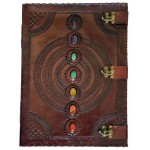 7 Chakra Stones Large Leather Blank Journal - 18 Inches at Mystic Convergence, Wiccan Supplies, Pagan Jewelry, Witchcraft Supplies, New Age Store