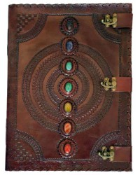 7 Chakra Stones Large Leather Blank Journal - 18 Inches Mystic Convergence Metaphysical Supplies Metaphysical Supplies, Pagan Jewelry, Witchcraft Supply, New Age Spiritual Store