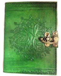 Tree of Life Green Leather Journal with Latch Mystic Convergence Metaphysical Supplies Metaphysical Supplies, Pagan Jewelry, Witchcraft Supply, New Age Spiritual Store