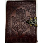 Hamsa Embossed Leather Journal with Latch at Mystic Convergence, Wiccan Supplies, Pagan Jewelry, Witchcraft Supplies, New Age Store