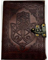 Hamsa Embossed Leather Journal with Latch Mystic Convergence Metaphysical Supplies Metaphysical Supplies, Pagan Jewelry, Witchcraft Supply, New Age Spiritual Store