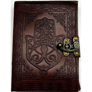 Hamsa Embossed Leather Journal with Latch Mystic Convergence Wicca Supplies, Pagan Jewelry, Witchcraft Supply, New Age Magick
