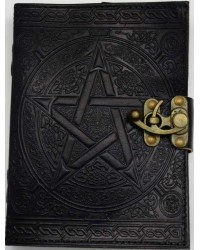 Pentacle Black Leather Book of Shadows 7 Inch Journal with Latch Mystic Convergence Metaphysical Supplies Metaphysical Supplies, Pagan Jewelry, Witchcraft Supply, New Age Spiritual Store