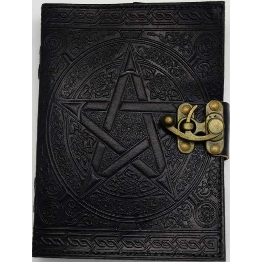 Book Cover Black : Pentacle embossed black leather inch journal with latch